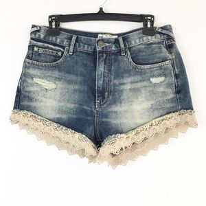 Free People Size 28 Lace Crochet Trim Jean Shorts